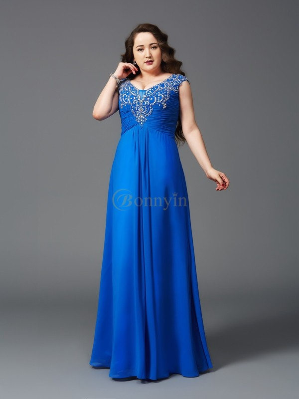Royal Blue Chiffon Straps A-Line/Princess Floor-Length Prom Dresses