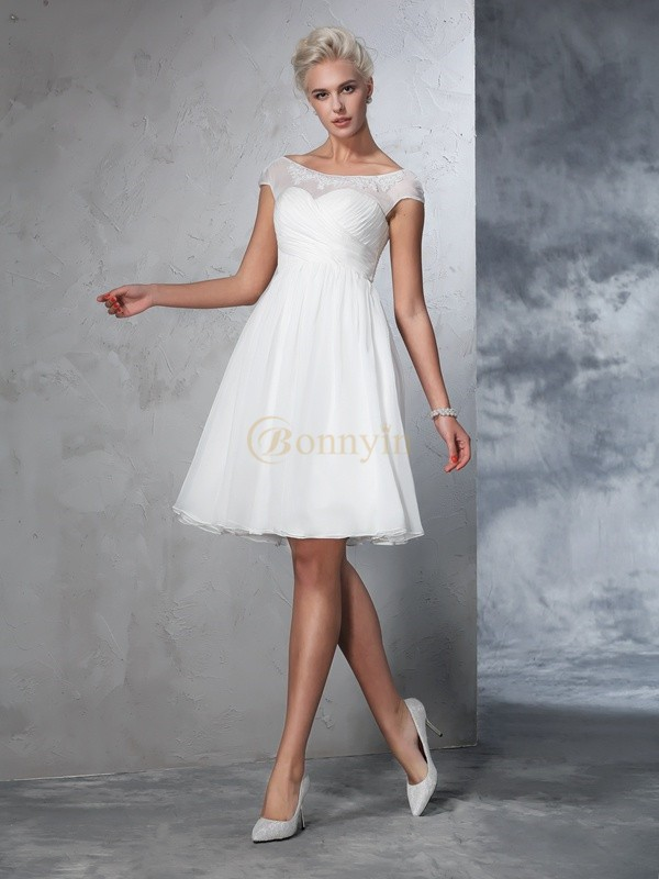 Ivory Chiffon Sheer Neck A-Line/Princess Knee-Length Wedding Dresses