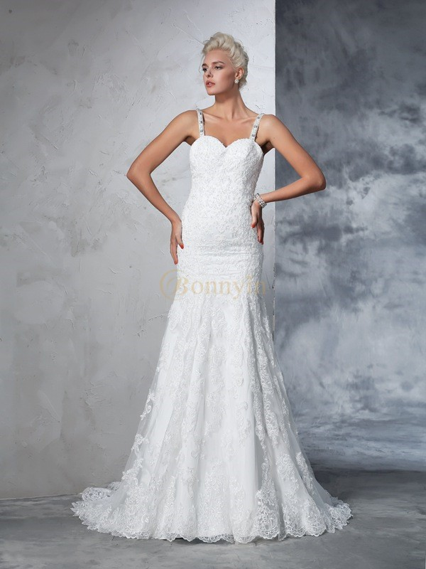 Ivory Lace Spaghetti Straps Trumpet/Mermaid Chapel Train Wedding Dresses