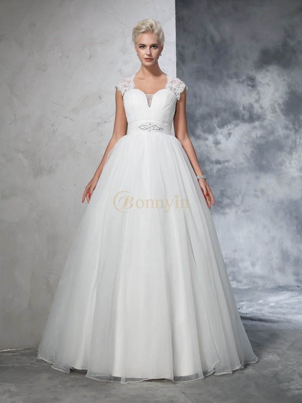 Ivory Tulle Sweetheart Ball Gown Sweep/Brush Train Wedding Dresses