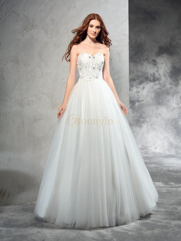 Ivory Net Sweetheart A-Line/Princess Floor-Length Wedding Dresses