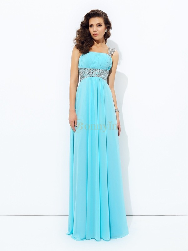 Light Sky Blue Chiffon Straps A-line/Princess Floor-Length Prom Dresses