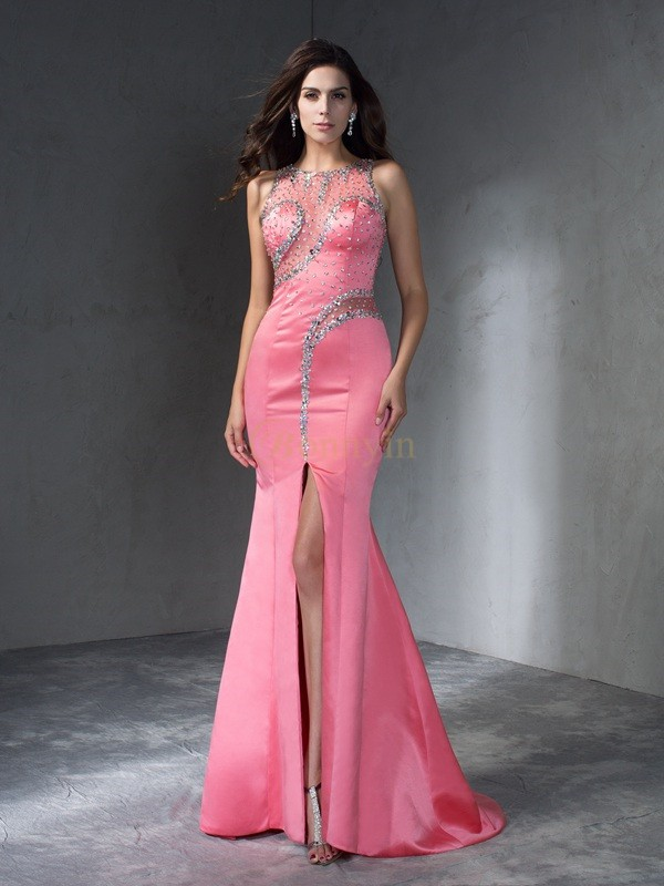 Pearl Pink Satin Scoop Trumpet/Mermaid Sweep/Brush Train Prom Dresses