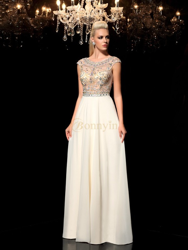 Champagne Chiffon Sheer Neck A-Line/Princess Floor-Length Evening Dresses