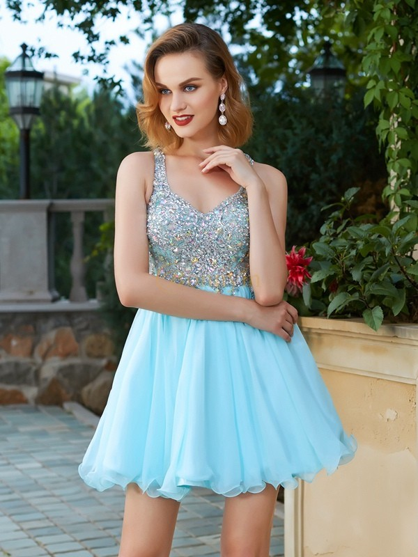 Light Sky Blue Chiffon Straps A-Line/Princess Short/Mini Homecoming Dresses