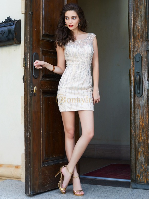 Ivory Net Scoop Sheath/Column Short/Mini Homecoming Dresses