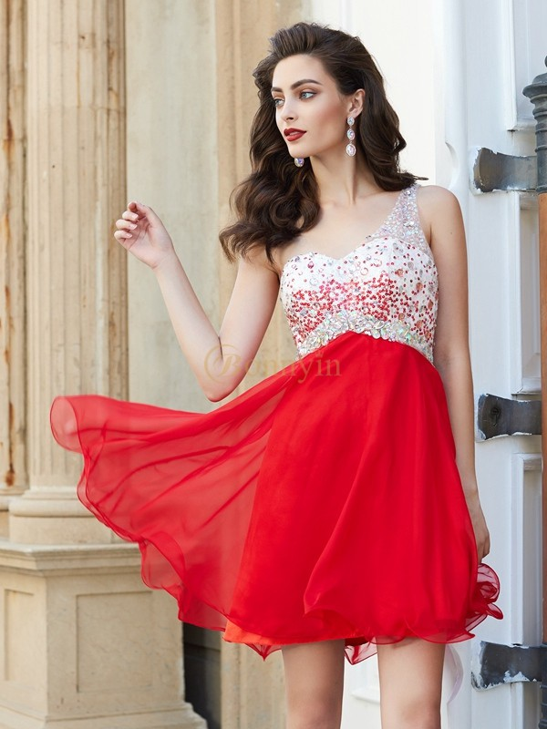 Red Chiffon One-Shoulder A-Line/Princess Short/Mini Homecoming Dresses