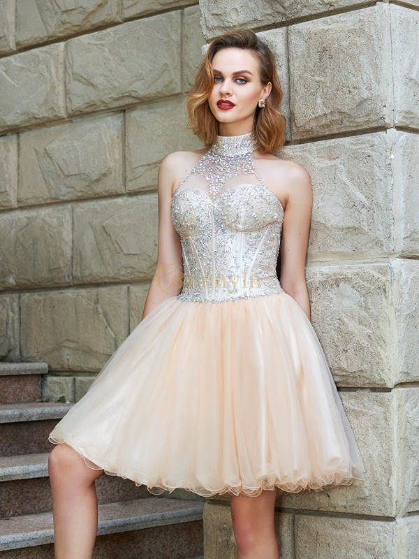 Champagne Net Halter A-Line/Princess Short/Mini Homecoming Dresses
