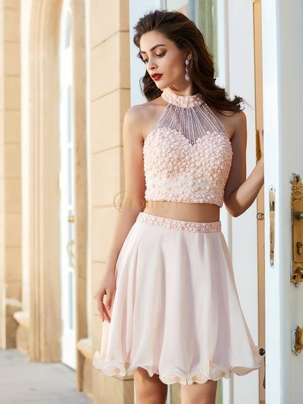 Pink Chiffon Halter A-Line/Princess Short/Mini Homecoming Dresses