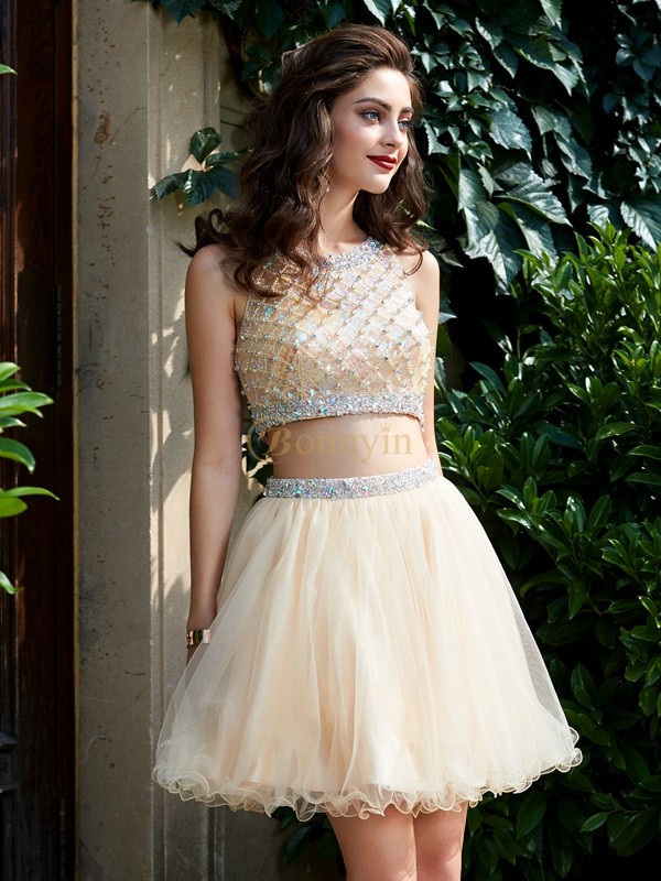 Champagne Net Scoop A-Line/Princess Short/Mini Homecoming Dresses