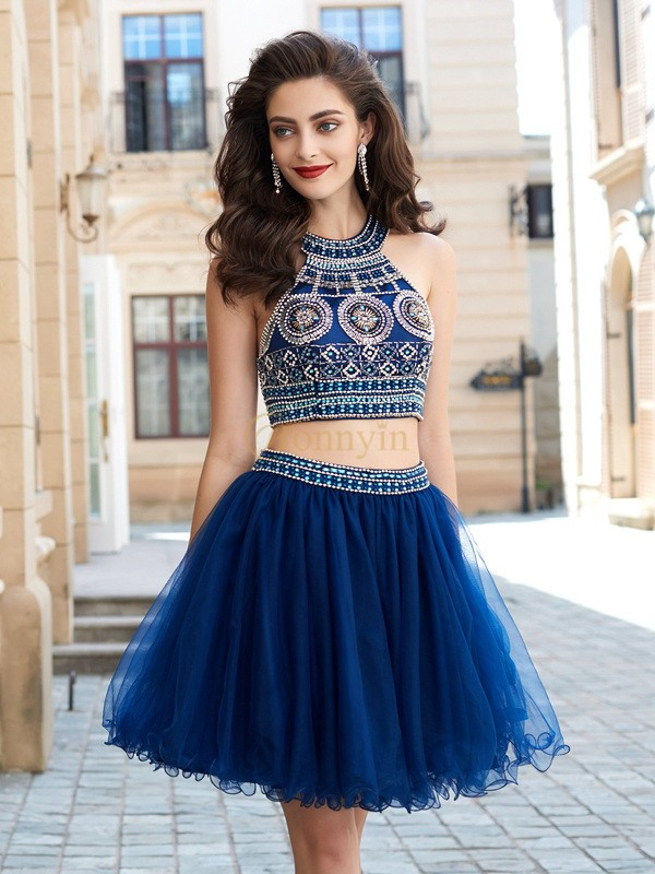 Dark Navy Net Jewel A-Line/Princess Short/Mini Homecoming Dresses