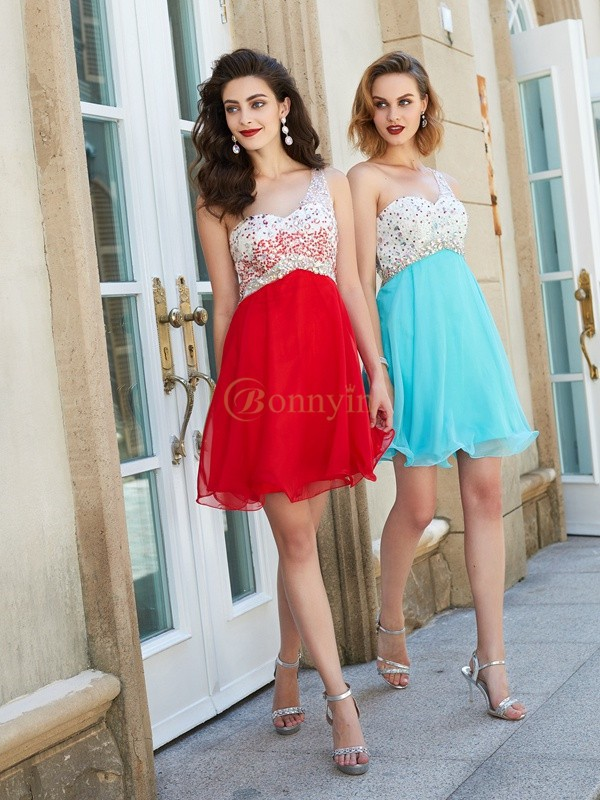 Chiffon One-Shoulder A-Line/Princess Short/Mini Homecoming Dresses