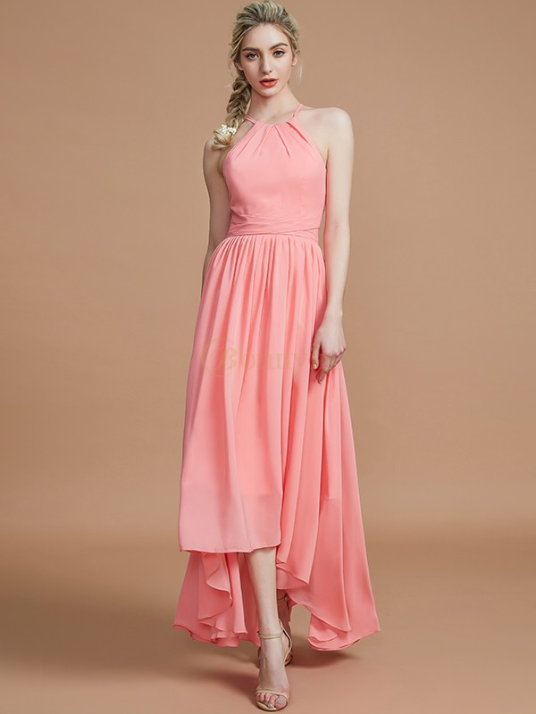 Watermelon Chiffon Halter A-Line/Princess Asymmetrical Bridesmaid Dresses