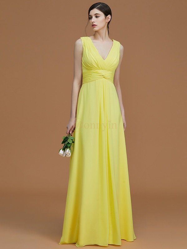 Daffodil Chiffon V-neck A-Line/Princess Floor-Length Bridesmaid Dresses