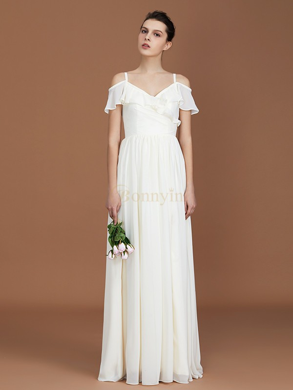 White Chiffon V-neck A-Line/Princess Floor-Length Bridesmaid Dresses