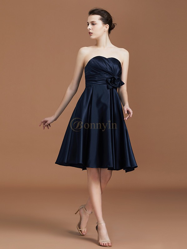 Dark Navy Chiffon Sweetheart A-Line/Princess Knee-Length Bridesmaid Dresses