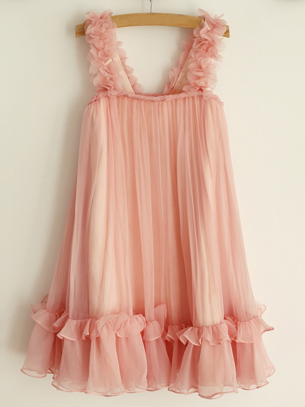 Pink Chiffon Straps A-Line/Princess Knee-Length Flower Girl Dresses