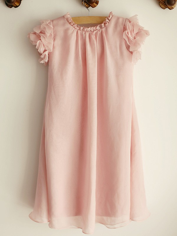 Pink Chiffon Scoop A-Line/Princess Knee-Length Flower Girl Dresses
