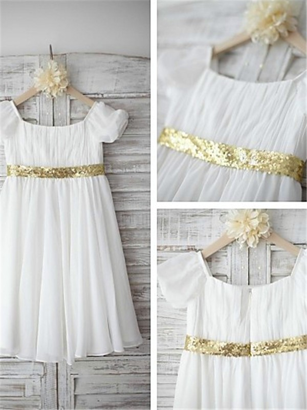 White Chiffon Bateau A-line/Princess Floor-Length Flower Girl Dresses
