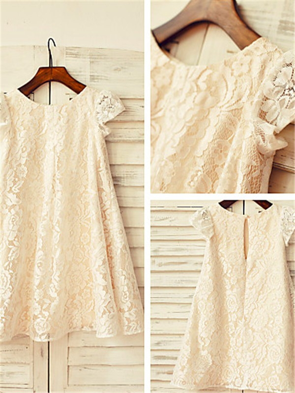 Champagne Lace Scoop A-line/Princess Tea-Length Flower Girl Dresses