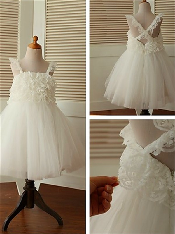 White Organza Straps A-line/Princess Tea-Length Flower Girl Dresses