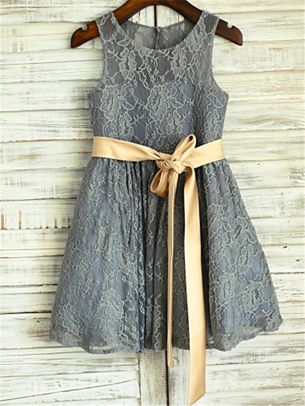 Grey Lace Scoop A-line/Princess Floor-Length Flower Girl Dresses