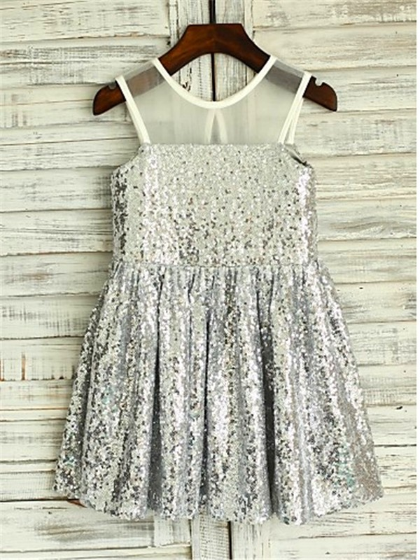 Silver Sequins Scoop A-line/Princess Floor-Length Flower Girl Dresses