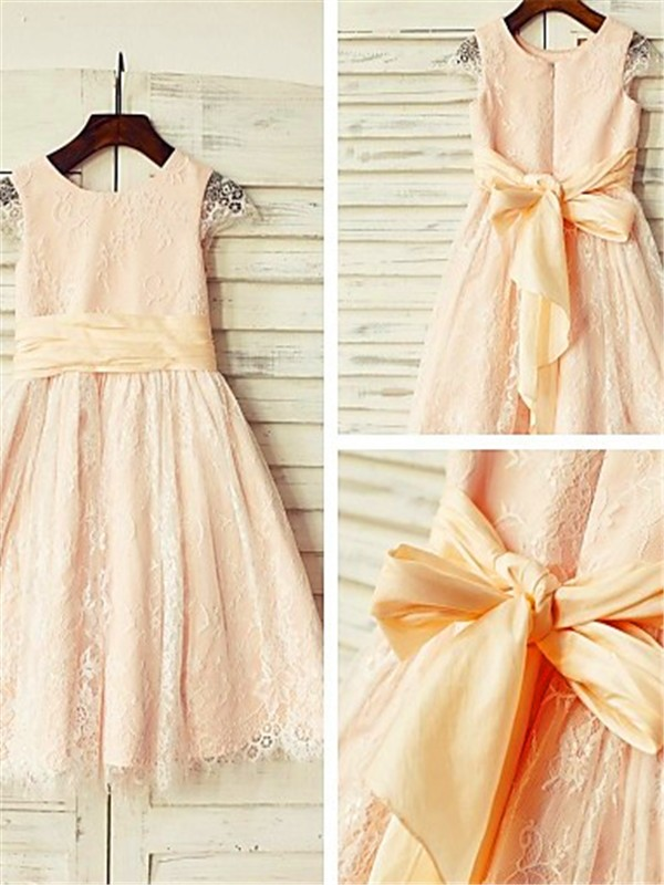 Pearl Pink Lace Scoop A-line/Princess Tea-Length Flower Girl Dresses