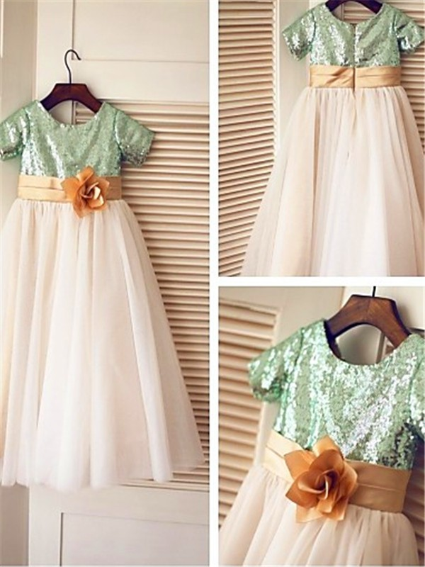 Green Tulle Scoop A-line/Princess Tea-Length Flower Girl Dresses