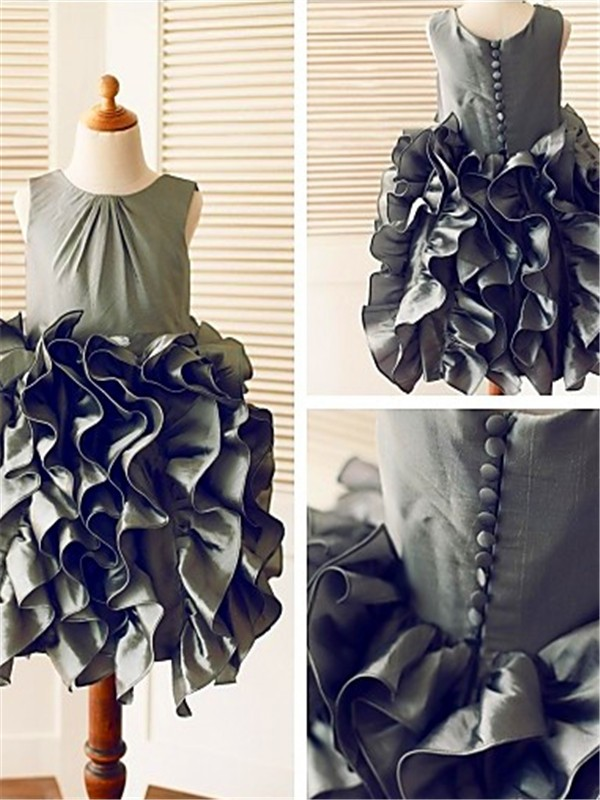 Grey Tulle Straps Ball Gown Tea-Length Flower Girl Dresses