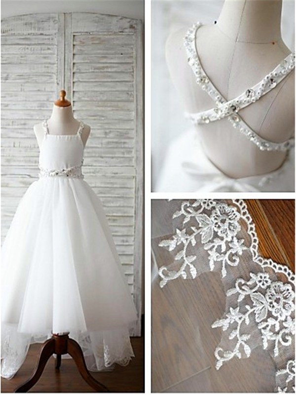 White Organza Spaghetti Straps A-line/Princess Sweep/Brush Train Flower Girl Dresses