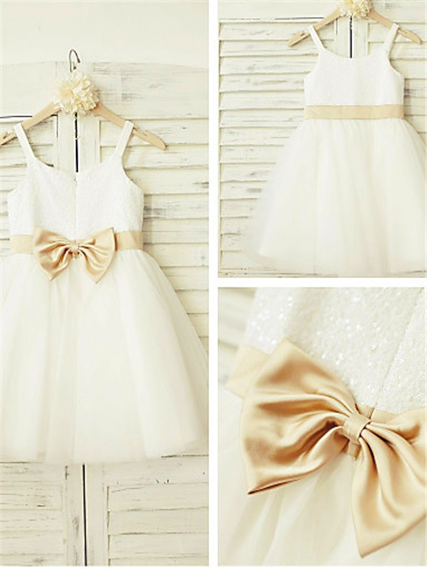 White Tulle Spaghetti Straps A-line/Princess Floor-Length Flower Girl Dresses