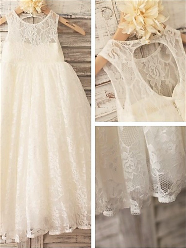Ivory Lace Scoop A-line/Princess Ankle-Length Flower Girl Dresses