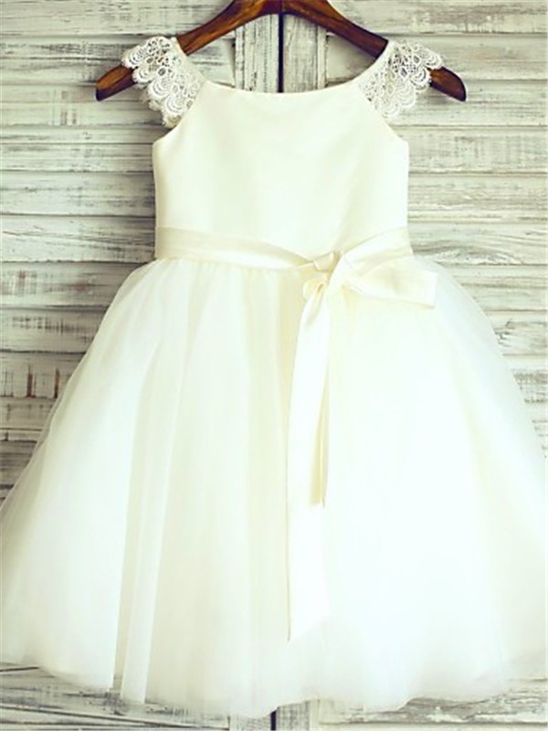 Ivory Organza Scoop A-line/Princess Floor-Length Flower Girl Dresses