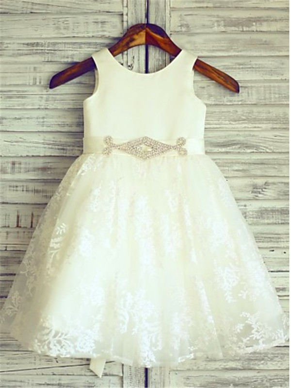 Ivory Lace Scoop A-line/Princess Floor-Length Flower Girl Dresses