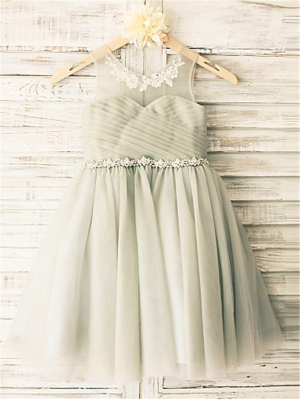 Grey Tulle Scoop A-line/Princess Tea-Length Flower Girl Dresses