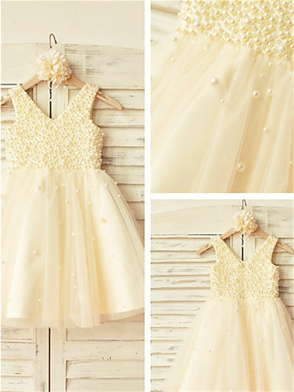 Gold Tulle V-neck A-line/Princess Tea-Length Flower Girl Dresses