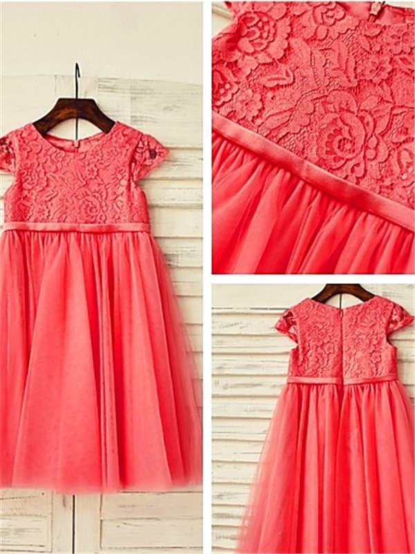 Watermelon Tulle Scoop A-line/Princess Tea-Length Flower Girl Dresses