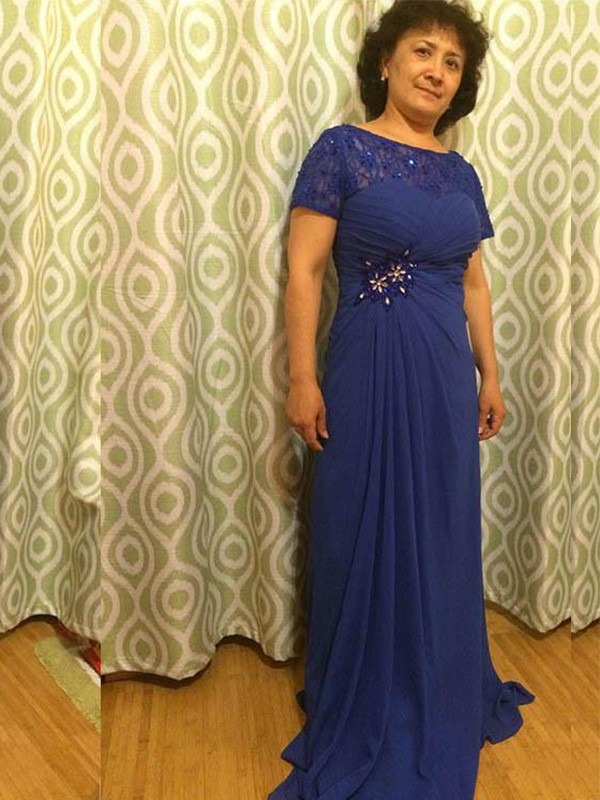 Royal Blue Chiffon Sheer Neck A-Line/Princess Sweep/Brush Train Mother of the Bride Dresses