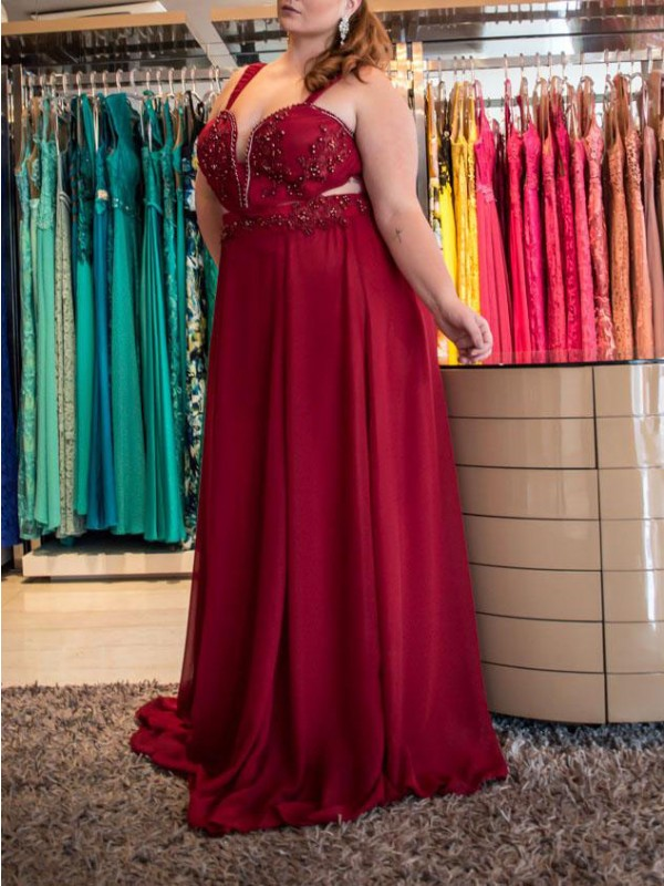Red Chiffon Straps A-Line/Princess Sweep/Brush Train Plus Size Dresses