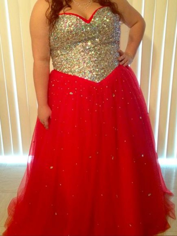 Red Tulle Sweetheart A-Line/Princess Floor-Length Plus Size Dresses
