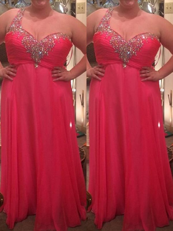 Watermelon Chiffon One-Shoulder A-Line/Princess Floor-Length Plus Size Dresses