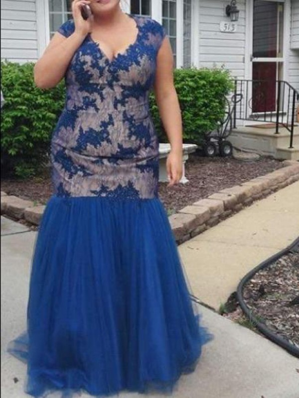 Royal Blue Tulle V-neck Trumpet/Mermaid Floor-Length Plus Size Dresses