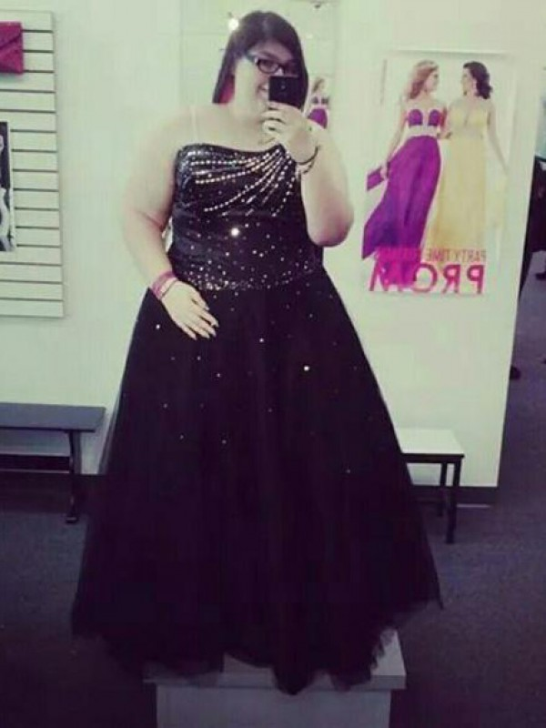 Black Tulle One-Shoulder Ball Gown Floor-Length Plus Size Dresses