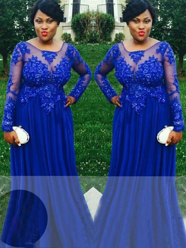 Royal Blue Chiffon Sheer Neck A-Line/Princess Floor-Length Plus Size Dresses