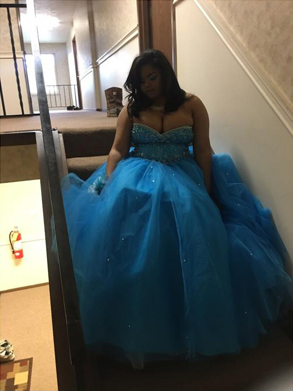 Blue Tulle Sweetheart Ball Gown Floor-Length Plus Size Dresses