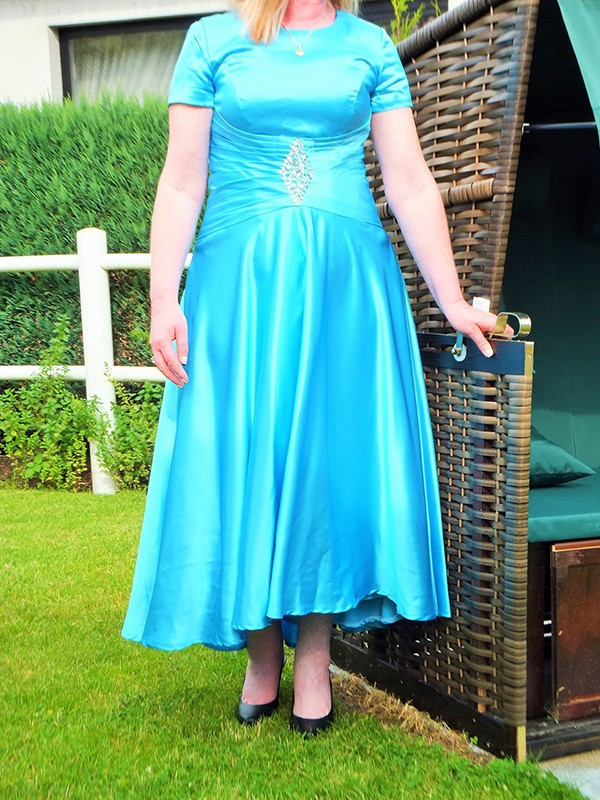 Blue Elastic Woven Satin Scoop A-Line/Princess Ankle-Length Mother of the Bride Dresses