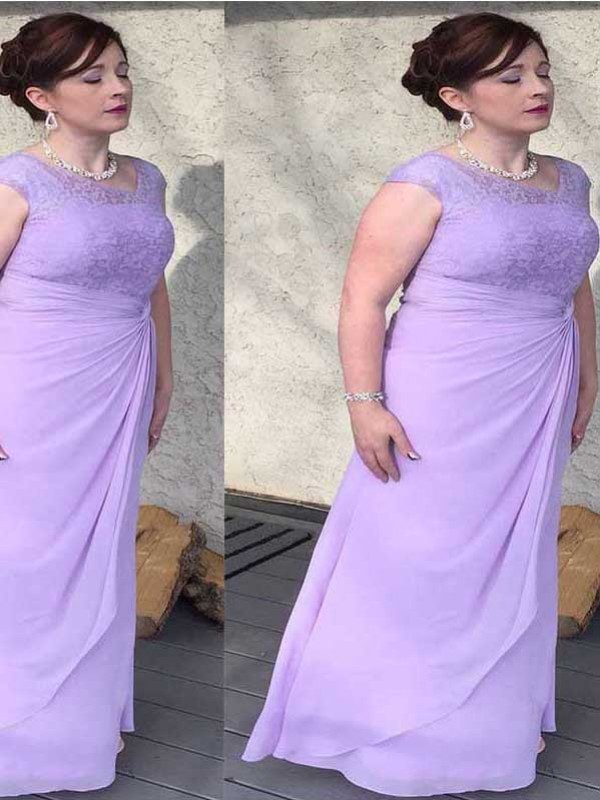 Lilac Chiffon Scoop Sheath/Column Floor-Length Mother of the Bride Dresses