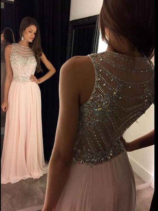 Pink Chiffon Scoop A-Line/Princess Floor-Length Prom Dresses