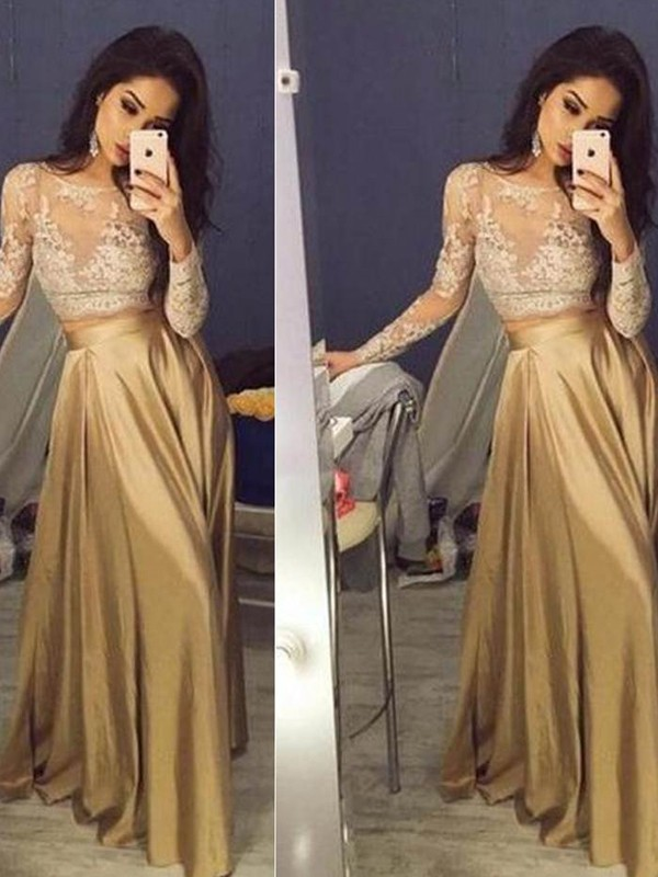 Brown Taffeta Scoop A-Line/Princess Floor-Length Prom Dresses